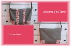 Sac Alex zippé Made by Virginie F, en lin et coton imprimé Kokeshi