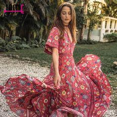 f9373a76a4be Jastie Women Summer Dress Bird Print V-Neck Open Back Sexy Dresses Elastic  Waist Maxi Dress Hippie Casual Beach Long Vestidos