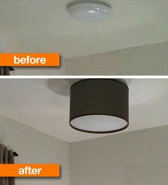 To Make a DIY Drum Shade Improve on what you are given in base housing. Try this DIY tip: place a decorative lampshade over an ugly light.Improve on what you are given in base housing. Try this DIY tip: place a decorative lampshade over an ugly light. Home Crafts, Home Projects, Diy Home Decor, Ceiling Fixtures, Light Fixtures, Ceiling Lights, Home Upgrades, Diy Drum Shade, Luminaria Diy