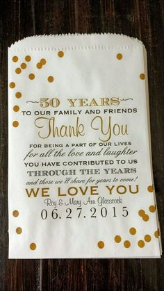 50 Years To Our Family and Friends Thank You for being a part of our lives for all the love and laughter You have contributed to us Through The Years and those we'll share for years to come We Love You Robert & Carolyn Brand 50th Wedding Anniversary Decorations, 60th Anniversary Parties, Golden Wedding Anniversary, Anniversary Ideas, Wedding Favors, 50th Anniversary Invitations, Marriage Anniversary, Wedding Programs, Wedding Gifts