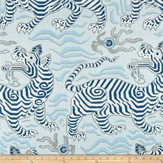 From Clarence House Fabrics, this gorgeous medium/heavyweight printed linen fabric has a super smooth, crisp hand. It is perfect for window treatments (draperies, swags, valances), duvet covers, toss pillows, shams, and lighter upholstery projects. This print features a fun geometric Tibetan tiger design. Colors include shades of blue, cream, and grey. Clarence House, Navy Fabric, Drapery Fabric, Linen Fabric, Navy Wallpaper, Fabric Wallpaper, Wallpaper Ideas, Tibet, Tiger Design