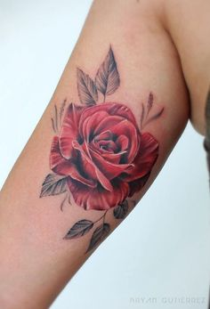 32 Gorgeous Tattoo Ideas for Women - Doozy List - Red Rose Tattoo - Small Star Tattoos, Tattoos For Kids, Trendy Tattoos, Cute Tattoos, Arm Tattoo, Leg Tattoos, Girl Tattoos, Shoulder Tattoos For Females, Sleeve Tattoos For Women