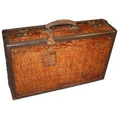 Vintage alligator skin suitcase. Monogrammed. 15H x 26W x 10D ...
