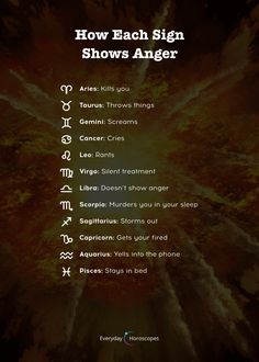 Astrological tips for stress relief! How do you behave when you are angry? Relieve your stress to stop being angry. More from my siteWhy People Can't Stop Crushing On These 4 Zodiac Signs by gardenpets.gqInsightful PsychicsTips for Scorpio Zodiac Signs Chart, Zodiac Sign Traits, Zodiac Signs Sagittarius, Zodiac Star Signs, My Zodiac Sign, Astrology Zodiac, Astrology Signs, Zodiac Signs Dates, Aries