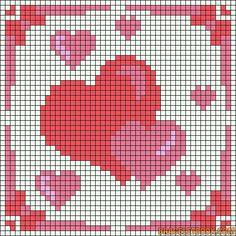double hearts Alpha Pattern added by Bead Loom Patterns, Beading Patterns, Loom Beading, Embroidery Patterns, Crochet Patterns, Cross Stitch Heart, Beaded Cross Stitch, Cross Stitch Embroidery, Pixel Crochet