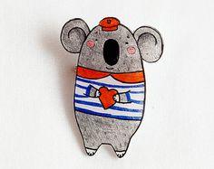 Koala- shrink plastic handmade brooch