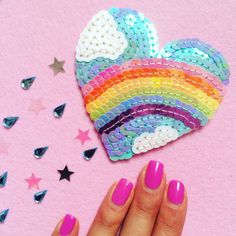 Super Cute Kawaii Pastel Rainbow and clouds heart sequin patch - One of a Kind Handmade