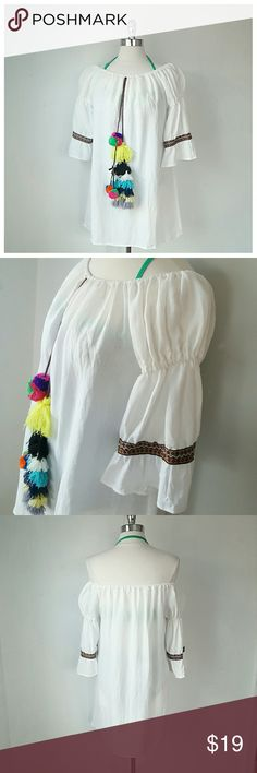 Off The shoulder Linen Dress/Coverup - White - Cotton Linen Blend - Size M , 16in Sleeve, 29in L - Pompom accent, Bell Sleeve embroidered trim, can be worn on or  off shoulder Swim Coverups