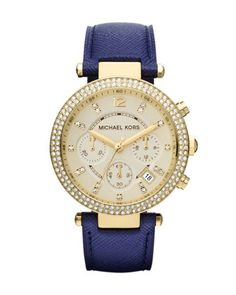 Michael Kors Watch, Women's Chronograph Parker Navy Leather Strap - First @ Macy's! - All Michael Kors Watches - Jewelry & Watches - Macy's Boutique Michael Kors, Michael Kors Outlet, Michael Kors Watch, Michael Watches, Mk Handbags, Handbags Michael Kors, Gold Handbags, Cheap Handbags, Fashion Handbags