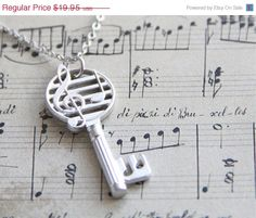 AWAY SPECIAL SALE  Musical Key Necklace. Open your by ALJoyeria, $15.96