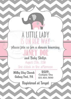 Grey and Pink Chevron baby shower invitation by Martin Design