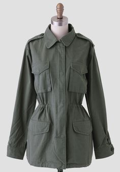 This olive green jacket is the perfect wardrobe essential, crafted in soft cotton and finished with four front pockets and a hidden zipper front closure. Perfected with a hidden drawstring at the...