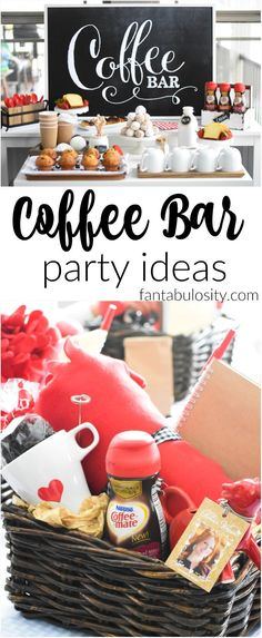 """Coffee Bar Party: """"You've Warmed My Heart,"""" theme! LOVE what she did as a random act of kindness with her guests! DIY Coffee bar ideas galore, and SO easy! bar ideas party decor """"You've Warmed my Heart,"""" Coffee Bar Bar Drinks, Coffee Drinks, Beverages, Coffee Bar Party, Coffe Bar, Coffee Themed Party, Coffee Coffee, Coffee Life, Coffee Shops"""