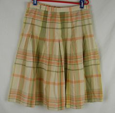 Talbots Skirt Size 4 Plaid Cotton Cream Tan Green Yellow Peach Lined A Line #Talbots #Pleated