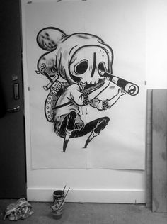 Not actually Street Art but. would love to see this little dude slapped up on the side of a building. Maybe one day SkullyBloodrider. Cool Drawings, Drawing Sketches, Graffiti Characters, Geniale Tattoos, Arte Sketchbook, Desenho Tattoo, Wow Art, Art Graphique, Street Art Graffiti