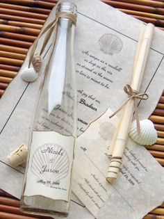 Seaside Message In A Bottle® Invitations, for a destination wedding!