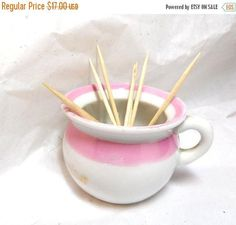 SALE 'Evening Exercise' chamber pot Toothpick holder