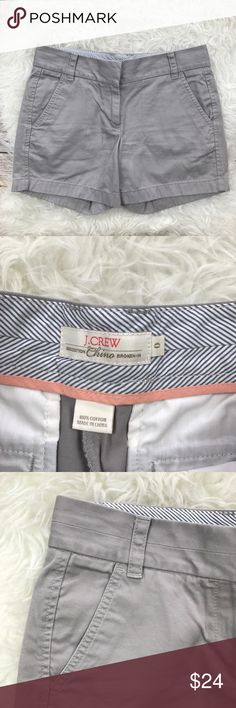 "J. Crew Stone Chino Shorts Excellent condition J. Crew Chino Stone Shorts. Size 0. 100% cotton. Stone colored khakis. Waistband 31"", rise 8.5"", inseam 5"". No trades, offers welcome. J. Crew Shorts"