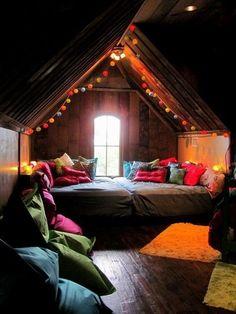 Light canopy + pillows galore