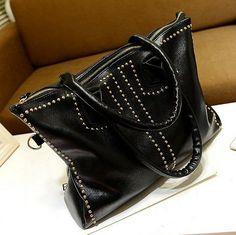 Stacy bags new arrival 2014 women fashion rivet shoulder bag female cross-body handbag ladies casual black big shopping bags $13.00