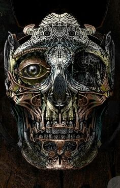 Painting of the first stage of crafting the steampunk metal skull for Frahnknshtyne's head by Kevin Mowrer Metal Skull, Skull Art, Cyberpunk, Crane, Steampunk Kunst, Steampunk Drawing, Steampunk Artwork, Arte Horror, Skull And Bones