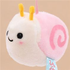 soft cream and pink snail plush charm by San-X 1