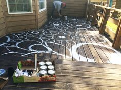 Ok friends! I've been hard at work on a big painting project again! Our deck was in need of some serious attention. It wraps aroundhalf o...