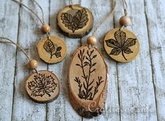 Stamping and Wood Burning on Wood Slices - Stamp on Design then wood burn over stamp!! Awesome
