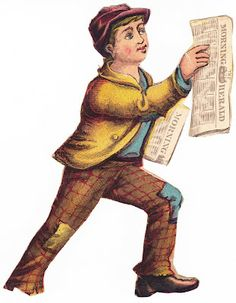 Old, cut-out illustration of young boy hawking newspapers.