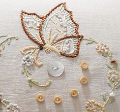 Vintage Hand Embroidered Pillow Butterfly Flowers Ivory Linen and Lace Crewel Embroidery Kits, Butterfly Embroidery, Vintage Embroidery, Embroidery Applique, Cross Stitch Embroidery, Embroidery Patterns, Machine Embroidery, Vintage Lace, Art Du Fil