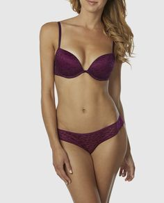 1967de0fc8 Feel oh so flirty in this push up plunge bra with allover leopard lace and push  up padding for playful lift or lightly lined looked.