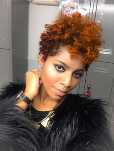 Color-for-Natural-Hair Gorgeous Ideas About Pixie Cut for Black Women Natural Hair Journey, Natural Hair Care, Natural Hair Styles, Pixie Cut Blond, Pixie Cuts, Pelo Afro, Natural Hair Inspiration, Great Hair, Big Hair