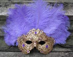 Gold and purple Venetian feather carnival mask, Mauve by ladyinthetower on etsy