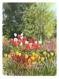 Flower Garden Paintings watercolor gardens - flower garden paintingssusie short | art
