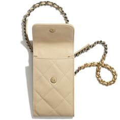 Shiny Goatskin, Gold-Tone, Silver-Tone & Ruthenium-Finish Metal Beige CHANEL 19 Phone Holder with Chain   CHANEL Chanel 19, Chanel Store, Chanel News, Sunglasses Shop, Sunglasses Online, Chanel Chain Bag, Eyewear Online, Small Leather Goods, High Jewelry