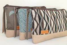 Woven Clutch Set of 3 Various Pattern or Choose a Favor by NeenaBags on Etsy Craft Bags, Leather Projects, Canvas Leather, Leather Clutch, Purses And Bags, Clutch Bags, Pouches, Wristlets, Couture