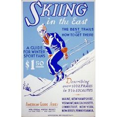 WPA Skiing in the East 1939 Canvas Art - Unknown (18 x 24)
