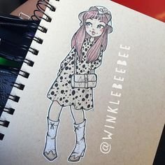 regram @winklebeebee July 26th #dailydrawing [Spots]. I was kinda stuck on what to draw today and ending up basing this off a photo in my copy of Fruits which is this rad photo collection of Japanese street fashion  Always dig around for inspiration when you're in an art block! #art #artstagram #drawing #illustration #sketch #sketchbook #ink #doodle #tonedpaper #fruits #fashion #design #instaart #igdraws #creative_instaarts #abeautifulmessapp
