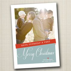 christmas photo card - modern ribbon.