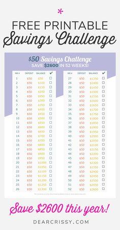 Kostenlose druckbare – Sparen Sie in diesem Jahr US-Dollar! – Finance tips, saving money, budgeting planner 52 Week Money Challenge, Savings Challenge, Budgeting Finances, Budgeting Tips, Budgeting Worksheets, Ways To Save Money, Money Saving Tips, Managing Money, Saving Ideas