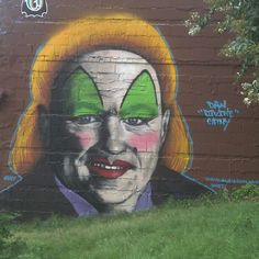 Finished mural: Chick-fil-A's Dan Cathy as John Waters drag queen, Divine. Photo by @gusisrich, art by Gus Cutty