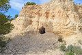 A mountain cave on the abandoned Via Verde Railway Line which is now a cycle track and is in the mountains overlooking Agost and Alicante in Spain.