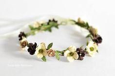 Toddler girl flower crown, Browngreen floral crown, Rustic woodland crown, Fairy crown, 1st Burthday flower crown, Smash cake headbands
