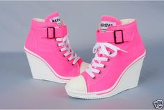 Canvas Wedge High Heeled Sneakers Tennis Shoes Boots in Hot pink, Love it :)