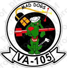 M.C. Graphic Decals - STICKER USN VA 105 MAD DOGS, $3.00 (http://www.mcgraphicdecals.com/sticker-usn-va-105-mad-dogs/)