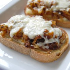 Open-faced Caramelized Onion and Fontina Grilled Cheese Sandwich