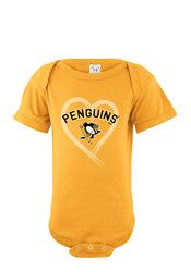 Pittsburgh Penguins Baby Gold Heart Creeper