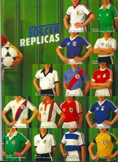 Adidas 1981 Catalogue Page Classic Football Shirts, Vintage Football Shirts, Vintage Jerseys, Retro Football, World Football, Retro Shirts, Football Kits, Vintage Shirts, Adidas Zx