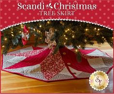 """Scandi Christmas Tree Skirt Pattern: Warm up your home this holiday season and spread the cheer with this darling Scandi Christmas Tree Skirt! Quilt measures at approximately 47"""" in diameter. Pattern will include the instructions and diagram to complete the tree skirt."""