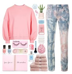 """""""How to Style Tie Die Jeans"""" by stavrolga ❤ liked on Polyvore featuring Topshop, Faith Connexion, R.J. Graziano, Christy, COVERGIRL, Zara Home, Aveda, Pier 1 Imports, Forever 21 and Deborah Lippmann"""